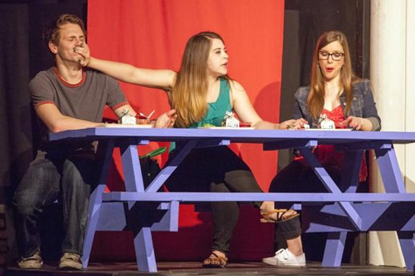 Ryan Wiechmann, Sara Rae Womack and Eileen Engel as Van, Tricia and Marcy - JOHN LAMB
