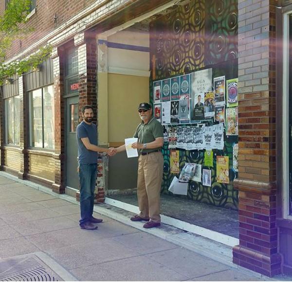 Fred Domke with landlord Jason Deem in front of Bridge's new bake shop on Cherokee. - COURTESY OF BRIDGE BREAD