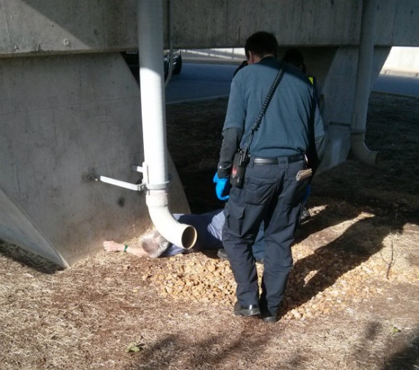 While passengers waited with a Metro security officer for help at the Shrewsbury station, the drunk man apparently fell and again hit his head. Here's where they found him. - COURTESY OF METROLINK PASSENGER