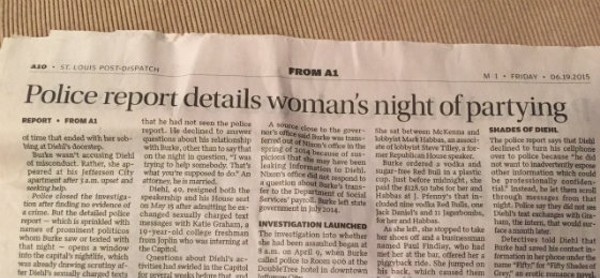 Yes, this is an actual headline that appeared in the Post-Dispatch on Friday.