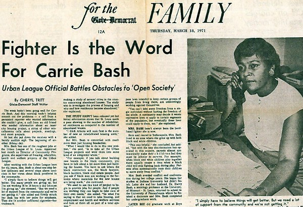 A profile of Carrie Bash written in 1971.