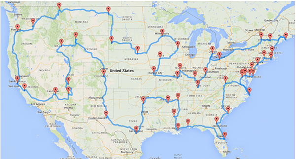 The actual perfect road trip, which Randy Olson determined using data analysis. - VIA RANDY OLSON