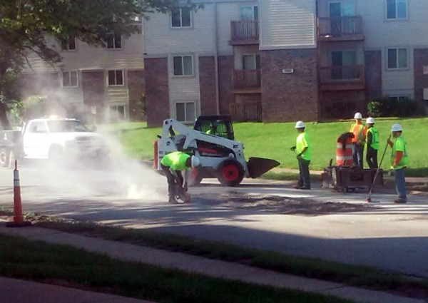 A crew paid for by the Lipton Group takes out the chunk of pavement. - @IJANIEJONES