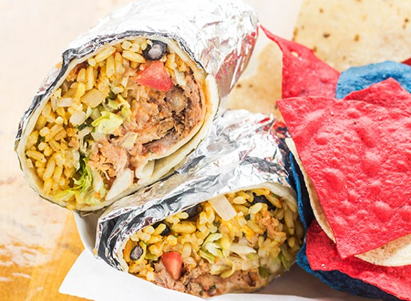 In addition to barbecue, the Q Shack dabbles in Tex-Mex, including burritos. - PHOTO BY MABEL SUEN