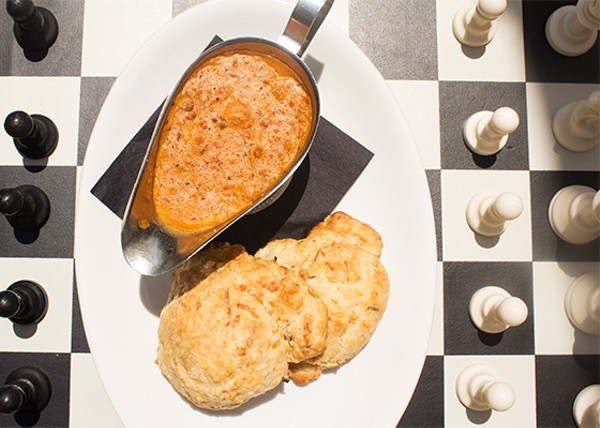 Cheddar drop biscuits with chorizo and sage gravy. - MABEL SUEN