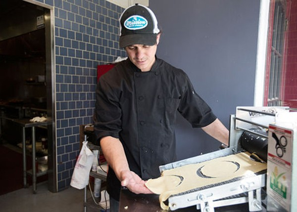 Jason Tilford making fresh tortillas at Mission Taco Joint. - JENNIFER SILVERBERG
