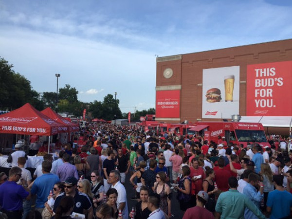 The massive crowd of attendees at the Bud & Burgers Budweiser event on Saturday. - EMILY MCCARTER
