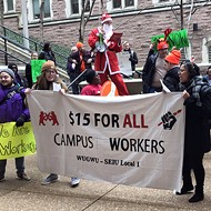 Wash U. Protesters Seeking $15 Hourly Wage Tell Chancellor 'Don't Be a Grinch'