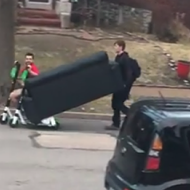 Local Legends Use Lime Scooters to Move Couch Across South St. Louis