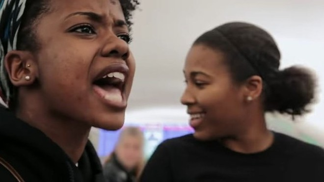 Brittany Ferrell, left, and Alexis Templeton, right, both faced criminal charges in St. Louis County after leading a block of I-70. - IMAGE VIA YOUTUBE/SHOW ME DEMOCRACY