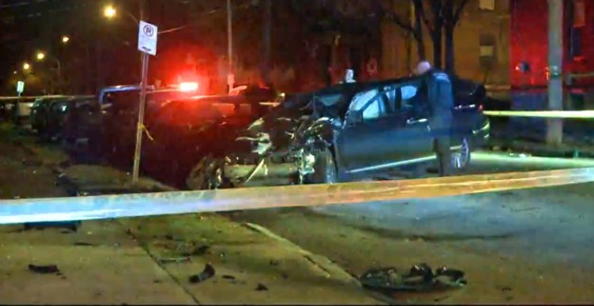 Carjackers crashed a stolen Lexus into a woman's parked car, injuring her, St. Louis County police say. - IMAGE VIA KSDK