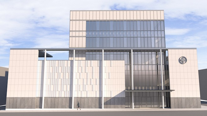 The frontal view of the hospital planned for Downtown West. - COURTESY OF THE LAWRENCE GROUP