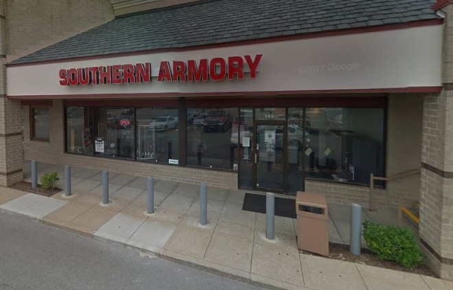 Southern Armory in Crestwood is the latest gun shop burglarized in recent weeks. - IMAGE VIA GOOGLE MAPS