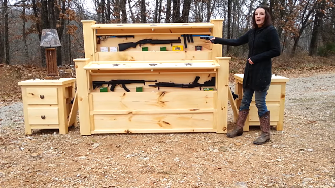 You could pack a lot of heat via this bedstand. - SCREENSHOT FROM THE VIDEO BELOW