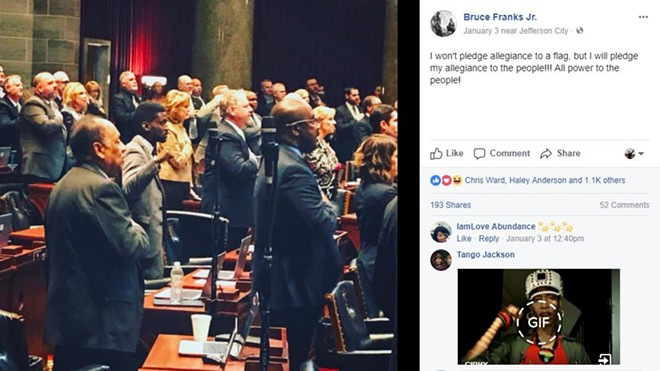 State Rep. Bruce Franks' Facebook post on January 3 sparked a flurry of local and, now, national news coverage of his raised fist. - VIA FACEBOOK