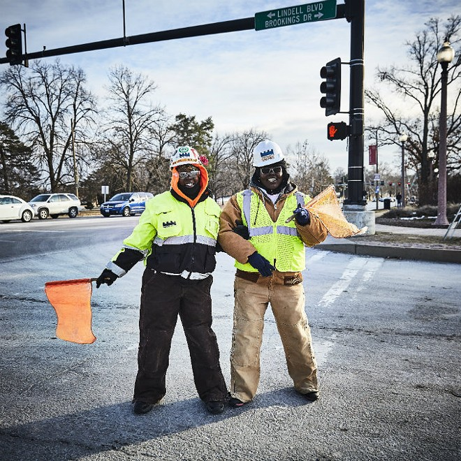 """Marjorie Lindsay, right, and Danyeal Crittenden: Wash U's construction zone """"gatekeepers."""" - THEO WELLING"""