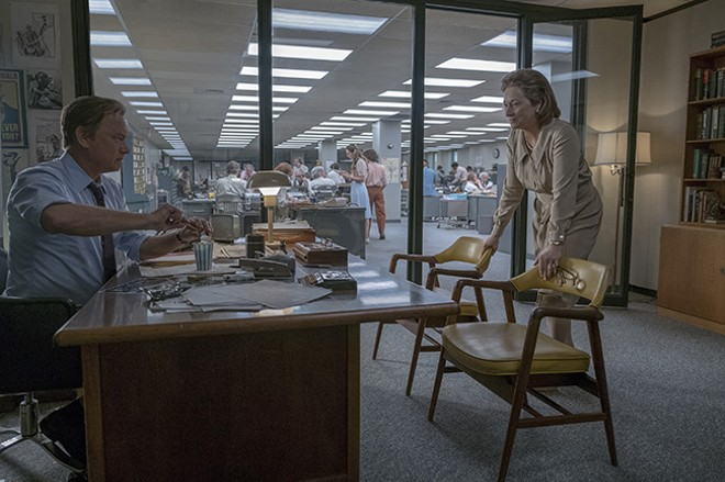 Ben Bradlee (Tom Hanks) and publisher Katharine Graham (Meryl Streep) weigh the balance between a scoop and social distress. - ​NIKO TAVERNISE © 2017 TWENTIETH CENTURY FOX FILM CORP AND STORYTELLER DISTRIBUTION CO LLC