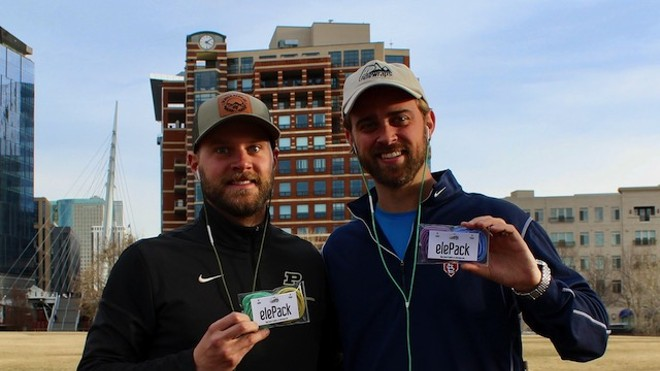Grant Pope, right, with business partner Zach Frauhiger.