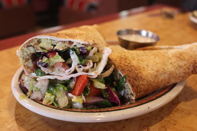 Majeed's falafel sandwich. - SARAH FENSKE