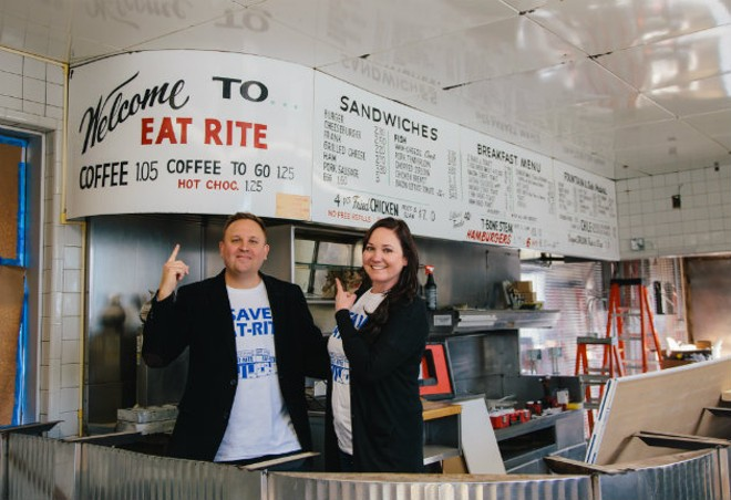 Joel and Shawna Holtman inside Eat-Rite Diner. - KORIN FISHER