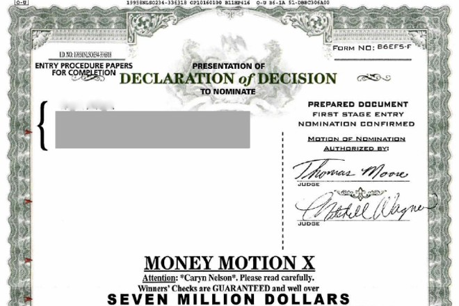 One of the solicitations (edited to remove recipient's name) sent to alleged victims of the scam. - U.S. DISTRICT COURT FILE