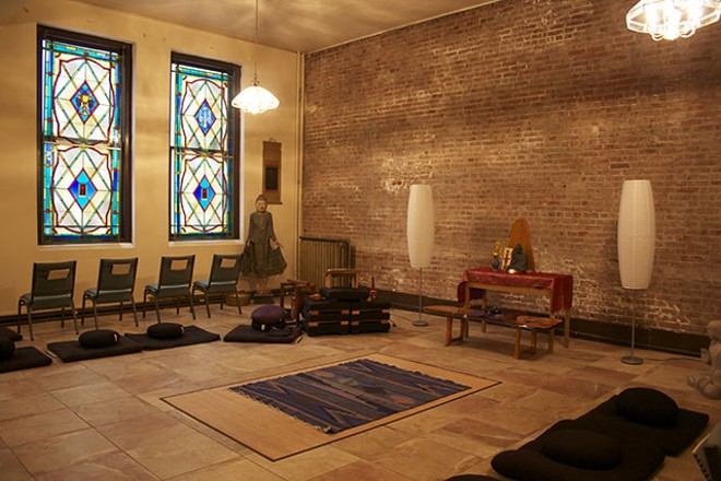 The room offers rugs and cushions for those who've come to meditate. - COURTESY OF SHINZO ZEN