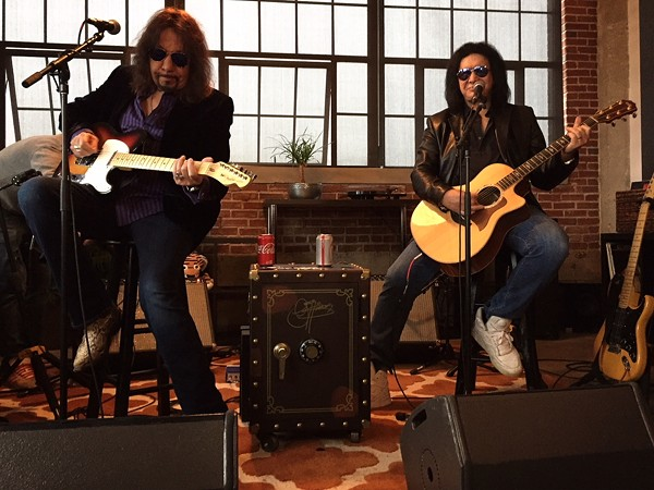 Gene Simmons (right) performing with Kiss co-founder Ace Frehley - PHOTO BY JAIME LEES