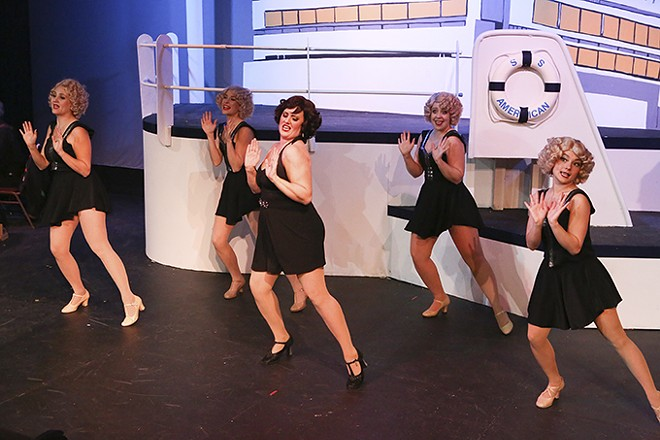 Bonnie (Sarah Gene Dowling, center) joins the Angels (Michelle Sauer, Larissa White, Sara Rae Womack, and Alyssa Wolf, l to r) for a dance. - JILL RITTER LINDBERG
