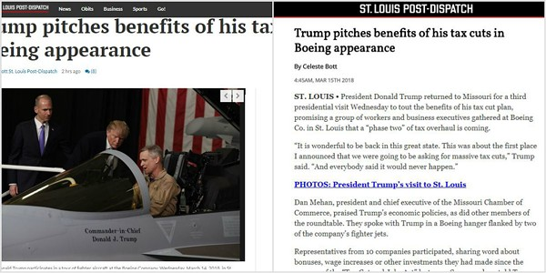 On the left, a story on Stltoday.com. On the right, the same story on Stltoday.site. - DANNY WICENTOWSKI