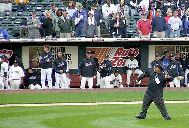 Martin Luther King III threw out the first pitch for the Civil Rights Game in 2008. - FLICKR/