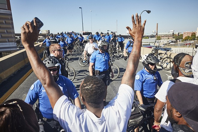 Protesters face off with police in September 2017. - THEO WELLING