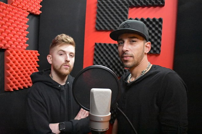 Justin Peer and Lee Roy Parks IV, a.k.a. JP and naturalLee, in the booth at the studio. - DANIEL HILL