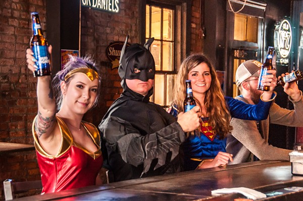 Amber Cox, Chris Roberts and Kristin Wahl hope readers will have a beer with them during the Soulard Superhero Pub Crawl on Saturday, April 14. - COURTESY OF MICAH USHER