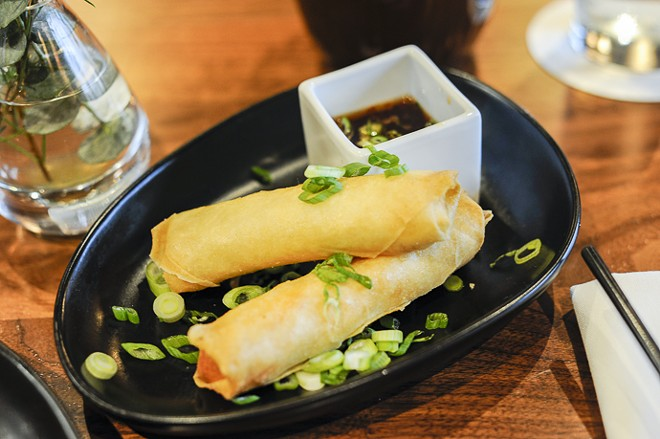 Rangoons have been rendered oblong and made with salt cod. - KELLY GLUECK