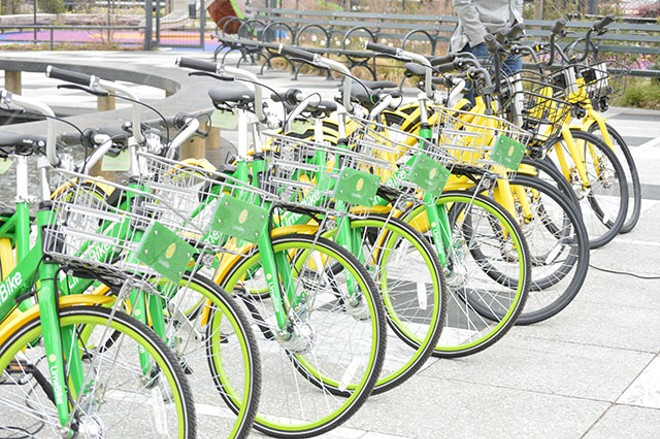 73669c930f1 click to enlarge Bikes provided by Ofo and LimeBike as a part of the new bike  share program in