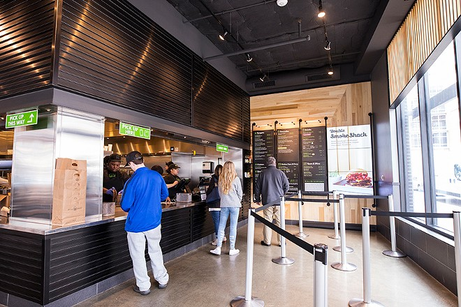 Shake Shack may be inspired by St. Louis' diners, but its look is decidedly upscale. - MABEL SUEN