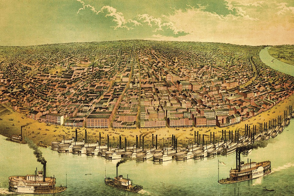 The St. Louis riverfront, shown as it was in the 1850s, was once a bustling part of the city's downtown. - COURTESY EVERETT HISTORICAL