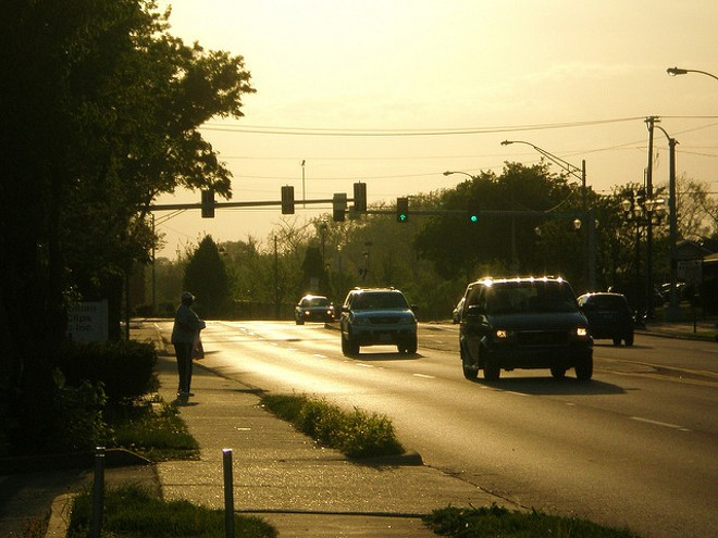 Commuters on Olive Boulevard. - COURTESY OF FLICKR/PAUL SABLEMAN
