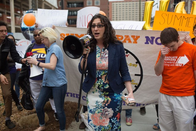 St. Louis Alderwoman for the 15th District Megan Green, who is a graduate student at Washington University, address the crowd. - DANIEL SHULAR