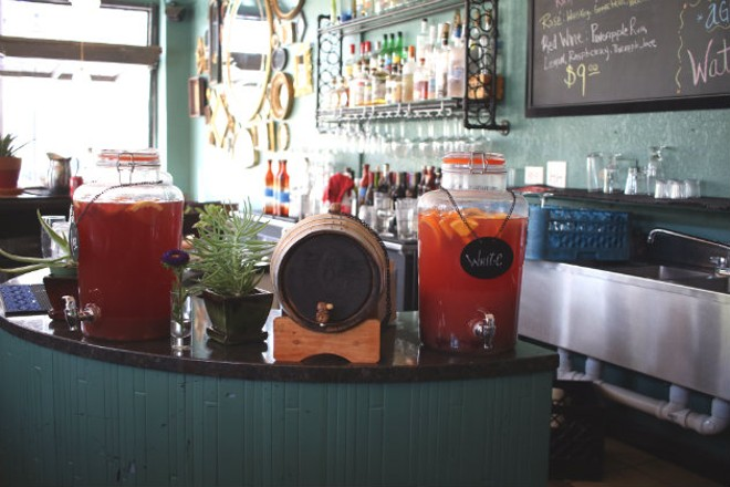 Sangria and aqua fresca are on tap and ready to serve. - CHERYL BAEHR