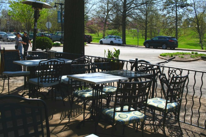 Patio seating is available along both sides of the restaurant. - CHERYL BAEHR