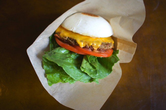 "A bao ""hamburger,"" made with the meat-free Impossible Burger. - CHERYL BAEHR"