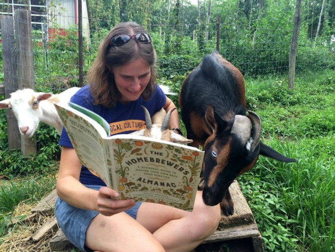 Marika Josephson and Wheezy the goat. - COURTESY OF SCRATCH BREWING COMPANY