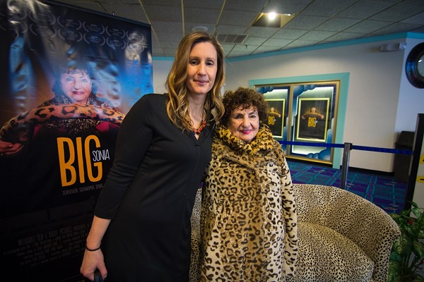 """Leah Warshawski and her grandmother, Sonia, at a showing of """"Big Sonia."""" The film has received 18 awards and broken sales records in Kansas City. - IMAGE COURTESY OF INFLATABLE FILMS"""