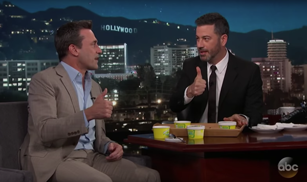 Jon Hamm and Jimmy Kimmel give Ted Drewes' frozen custard a literal thumbs-up. - VIA YOUTUBE