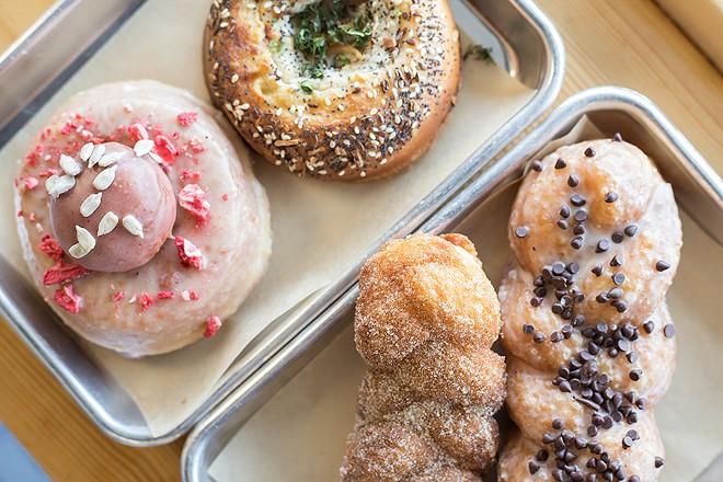 Baked goods include a few creative doughnuts. - MABEL SUEN