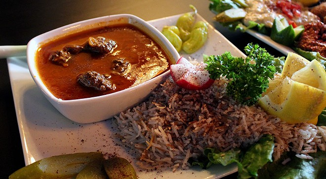 The dawood basha served with rice costs $16.50. - LEXIE MILLER