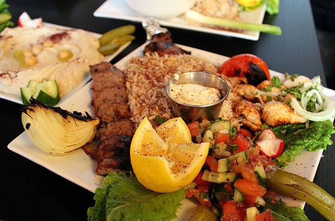 The mixed grill comes with a chicken kabob, a beef kabob and lamb chops for $19. Rice and vegetables are also included. - LEXIE MILLER
