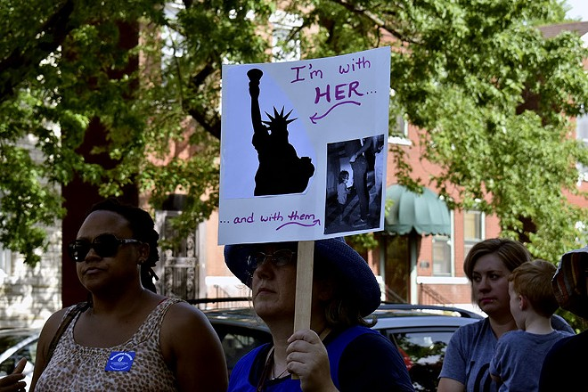 Several signs and T-shirts could be seen donning the Statue of Liberty. - LEXIE MILLER