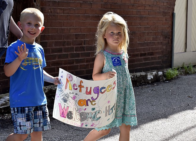 Many children with their own signs marched alongside their families. - LEXIE MILLER